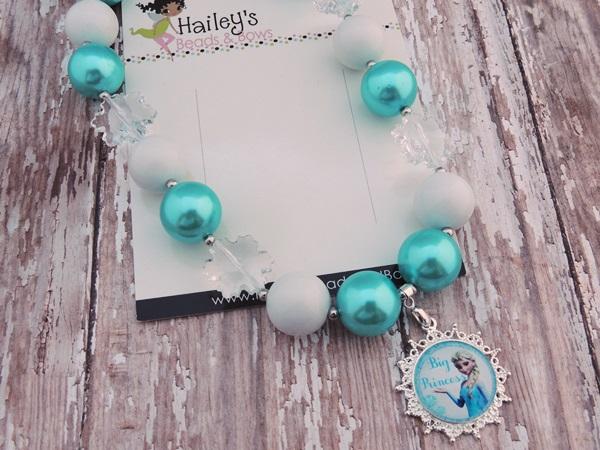 Elsa Frozen-frozen bubblegum necklaces, frozen chunky bead necklaces, photography props, photo props, frozen party, character necklaces