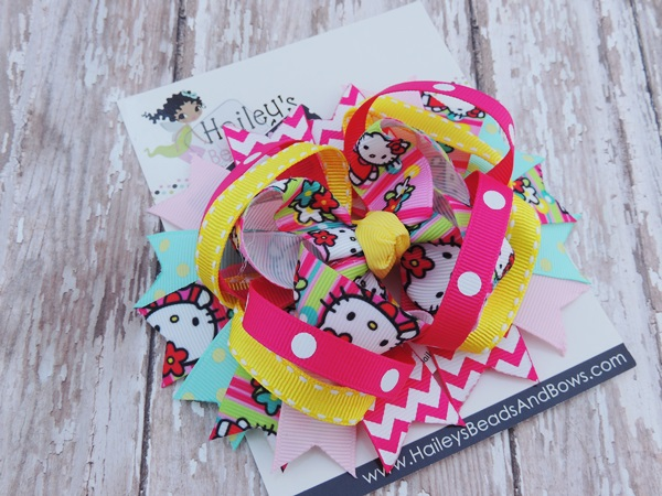 Hello Kitty Inspired Hair Bows-hello kitty hair bows, toddler hair bow, large hair bows, character hair bows, kitty bows, spike hair bows, chevron hair bows