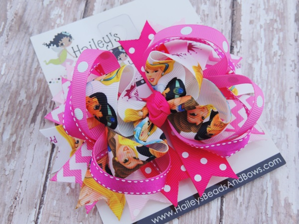 Disney Princess Hair Bow-Princess hair bow, Disney princess inspired hair bow, hair bow clip, princess clips, pink white hair bows, toddler hair bows, baby hair bows