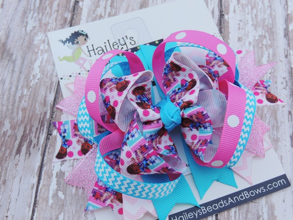 Doc McStuffins Inspired Hair Bow-Doc McStuffins inspired hair bow, doc hair bows, purple white hair bows, hair clips, character clips, princess bows