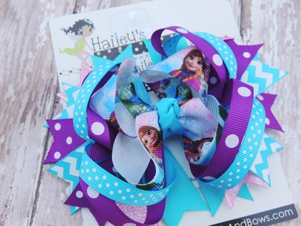 Frozen Inspired Hair Bows-Frozen hair bows, Anna hair bow, Elsa hair bows, hair bow clips, character hair bows, princess hair bows
