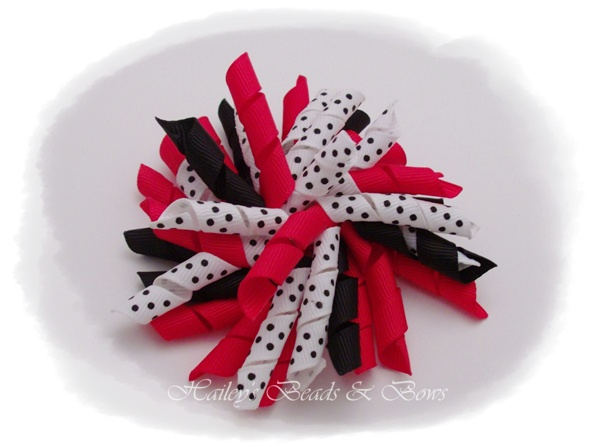 Loopy ladybug-large korker hair bows, korkers, large boutique hair bows, toddler hair bows, red white black bows, school bows, ladybug hair bow