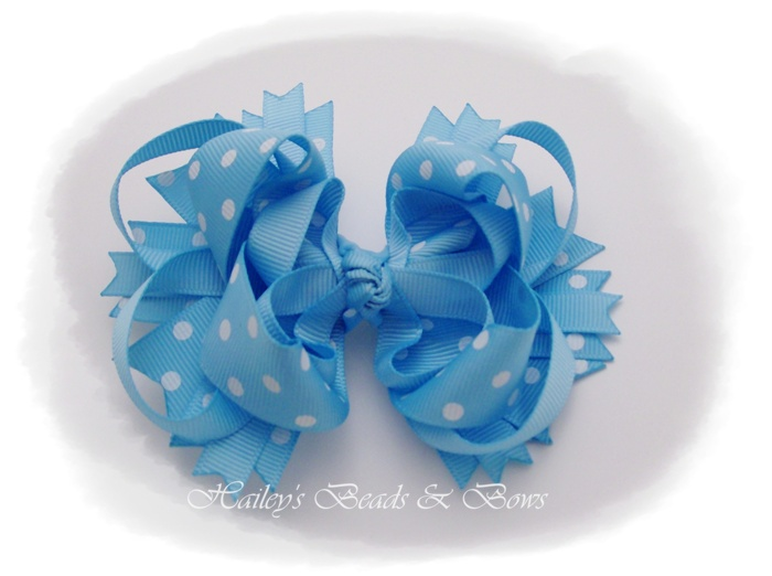 Sky Blue Dots Layered Boutique Hair Bow-layered boutique hair bow, spike hair bows, buy hair bows online, online hair accessories for girls, korker hair bows, woven headbands, handmade louisiana