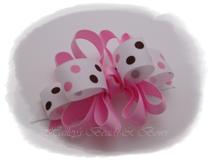 Pink Dippity Dots Hair Bow-loopy funky hair bow, pink and brown hair bow, polka dots hair bow, hair bow boutique online, buy hair bows online