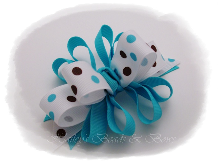 Turquoise Loopy Dippity Dots Hair Bow-loopy funky hair bows, polka dots hair bow, turquoise hair bows, hairbows online, buy hair bows online, boutique hair bows, resin center hair bows
