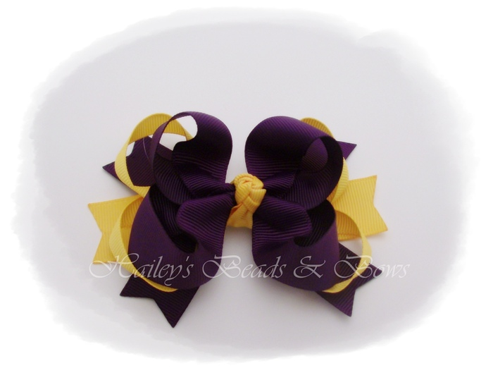 Spikes 'n loops plum and gold-toddler hair bows, baby hair bows, school hair bows, LSU hair bows, purple gold hair bows, plum gold hair bows, loopy hair bows, spike hair bows, crochet beanie hats, hair bow headbands