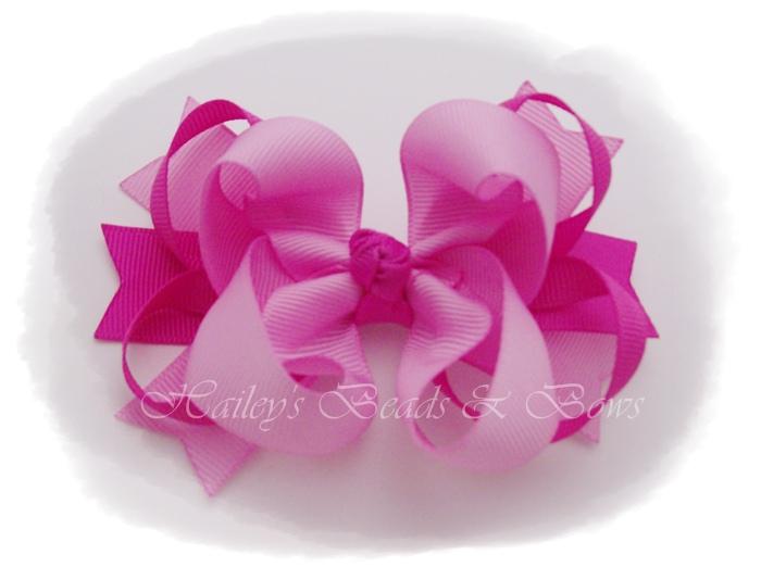 Spikes 'n loops Pinks-loopy hair bows, pink hair bows, toddler baby hair bows, surround loop hair bows, handmade hair bows, pink set of baby hair bows, set of hair bows, hair bow set