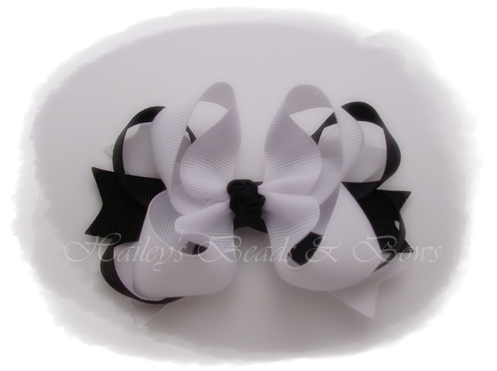 Spikes 'n loops panda-toddler hair bows, baby hair bows, black and white hair bows, loopy hair bows, spike hair bows, hair bow headbands, crochet headband