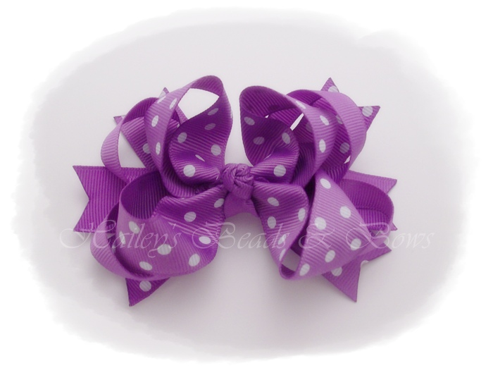 Spikes 'n loops lilac dots-toddler hair bow, small hair bows, purple hair bow, lilac hair bows, baby hair bows, loopy hair bows, spike hair bows, school hair bows, big girl hair bows, haileysbeadsandbows