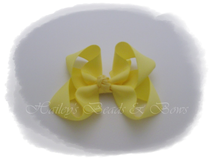 Basic Boutique Bow soft yellow-small boutique hair bows, yellow hair bow, baby and toddler hair bows, small hair clips, bottlecap hair bows, buy bows online, online hair bows, handmade louisiana
