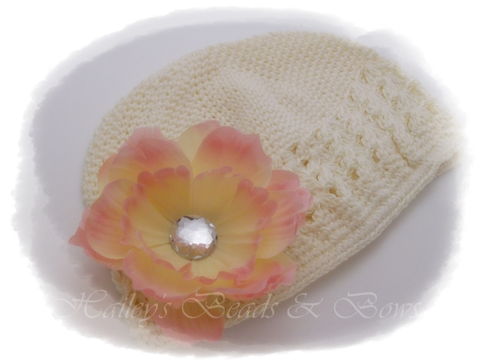 Peaches 'n Cream-crochet baby hat, crochet hat, crochet beanie hats, flower hats, hats with flowers, flower clips, hair bow hats, hair bows, boutique hair bows