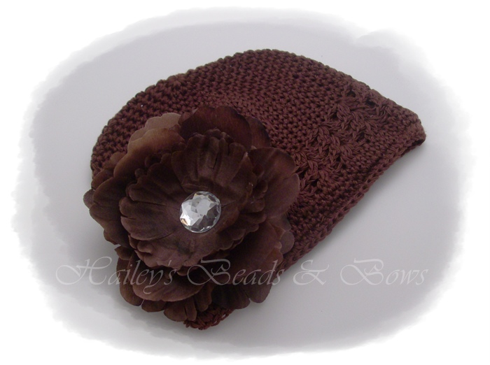 Brownie-brown crochet hat with flower, crochet beanie hats, baby hats, toddler and baby hair bows, handmade louisiana, handmade hair bows, crochet headbands