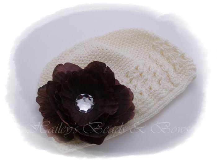 Cookies 'n cream-crystal flower hair clips, crochet beanie hats, crochet headbands, boutique hair bows, korker hair bows, woven headbands, handmade louisiana