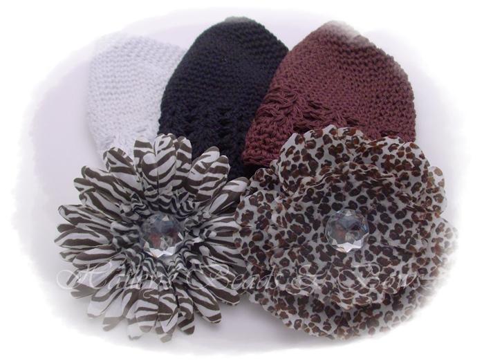 Wild Thing crochet hat set-crochet beanie hats, baby crochet hats, baby starter set, baby shower gift, animal print flower clips, crystal flower hats, crystal flower clip beanie hat