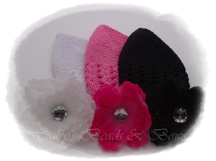 Classic Crochet Hat Set-crochet beanie hat crystal flower, crystal flower clip, peony flower hair clip, hot pink black white hair clips, flower hair clips, crochet baby hat, crochet infant hat, adult crochet hat