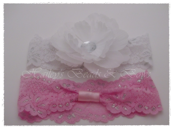 Crystal Peony Flower Lace Headband (wide)-lace headband, crystal flower headband, crystal peony flower headband, pink lace headband, white lace headband, hair bow interchangeable, flower hair clip, hairbow, toddler baby