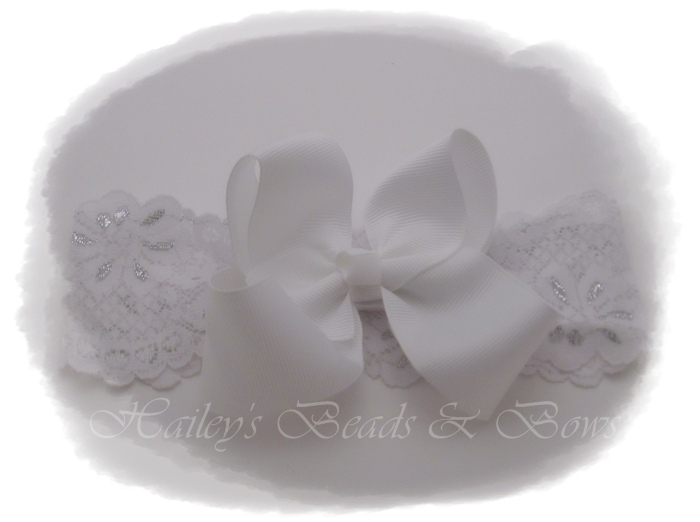 White lace hair bow headband-white lace hair bow headband, boutique hair bow, interchangeable headband, large lace headband, baby bow band, baby hair bow headband, toddler headband, woven headband