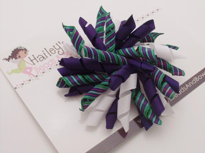 Preppy Purple Stripes Korker Hair Bow-purple green white hair bow, hairbows online, buy hair bows online, korker hair bows, corker hair bows, curly ribbon hair bows, alligator clip bows, large hair bows