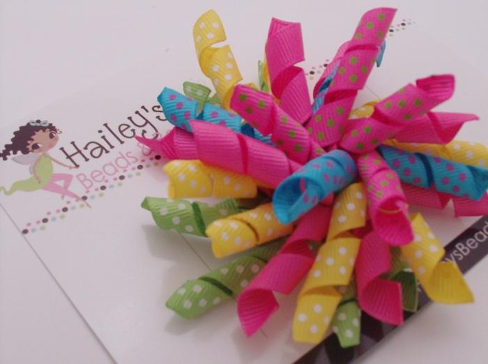 Summer Fun Korker-large korker hair bows, hairbow, curly hair bow, boutique hair bows, summer colors, polka dot hair bows, big girl hair bows