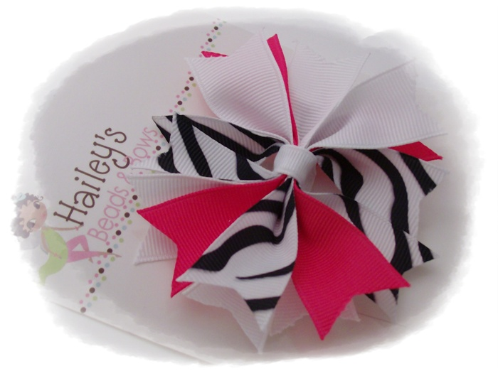 Funky Spike Hot Pink Zebra Print Hair Bow-spike hair bows, unique hair bows, buy hair bows online, hairbows online, boutique hair accessories, posh hair bows, zebra print hair bow, animal print bow, unique hair bow