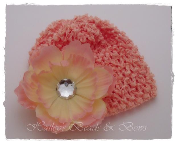 Just Peachy-crystal peony flower, flower hair clips, newborn hats, crochet baby hat, flower hats, baby flower clip, rhinestone flowers, baby shower gifts, online children's boutique