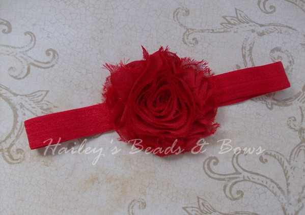 Red Shabby Chiffon Flower Headband-red shabby chiffon flower headband, fabric flower headband, chiffon flower clips, baby toddler headbands, newborn headbands, adult stretch headbands, soft elastic headbands, red shabby flower, handmade louisiana