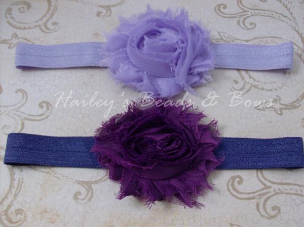 Shabby Chiffon Headband Set--Purples-lavender and purple flower headband, shabby chiffon flower headband, fabric flower headband, baby headband, baby shower gift girl, handmade louisiana, soft elastic headbands