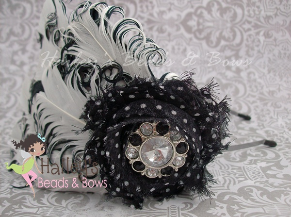 Black and White Nagorie Feather Fascinator-feather headbands, feather fascinators, nagorie feather headbands, black white feather headband, curly feather headband, metal headbands, adult girl headbands