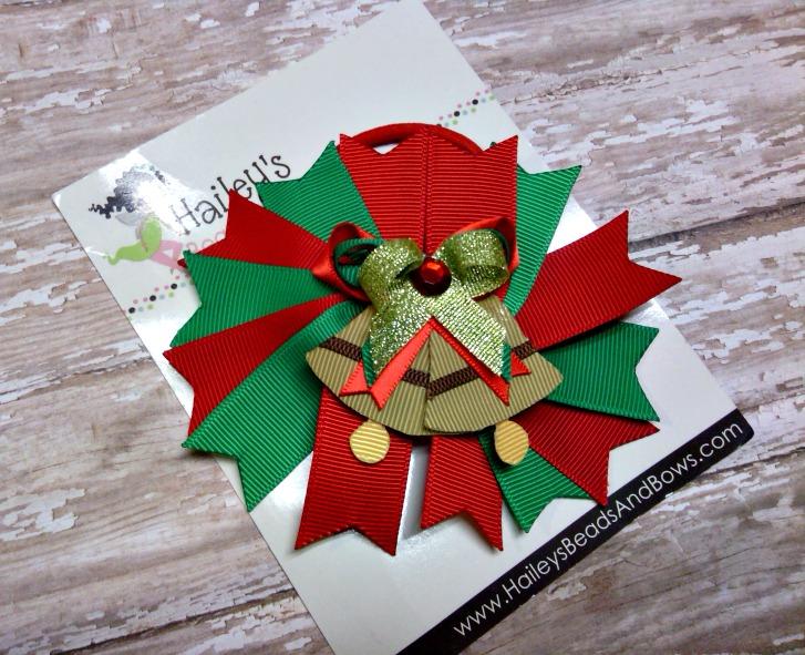 Christmas Holiday Ponytail Hair Bow-Christmas hair bows, holiday hair bows, ponytail bows, pony o, elastic ponytail holders, Christmas bells, handmade Louisiana, big girl hair bows, school hair bows