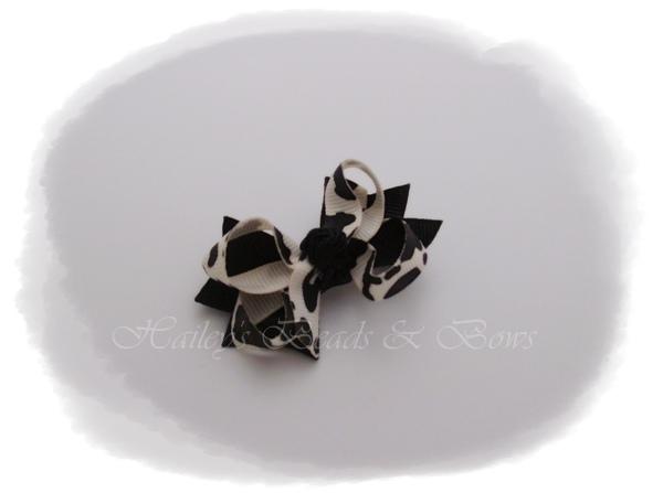 Black animal print bow-baby hair bows, toddler hair bows, small hair bows, pigtail bows, bitty baby bows, small hair clips, baby hair clips