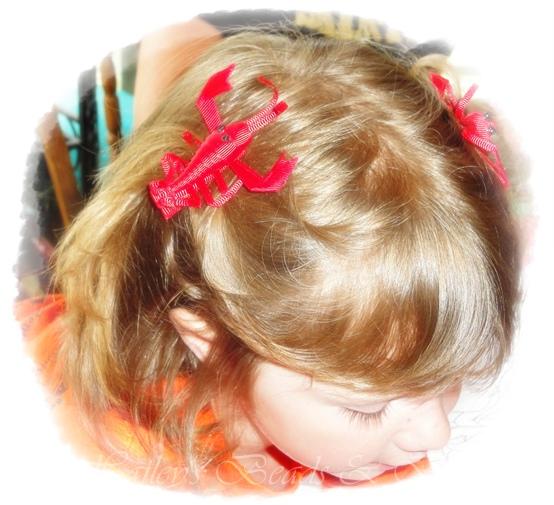 Cajun Crawfish Clippies-ribbon art hair clips, crawfish hair clips, lobster hair clips, small toddler hair bows, ponytail hair clips, boutique hair bows, boutique hair clips, teen hair clips