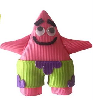 Patrick Star-spongebob hair bow, patrick star clip, character hair bows, ribbon art, ribbon sculptures, spongebob squarepants hair bow