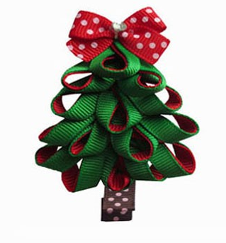 Christmas Tree Hair Clip Style 2-Christmas tree hair bow, Christmas hair bows, baby hair bows, Christmas tree clips, Christmas tree clippie, Ribbon art clips, toddler hair bows, character hair bows