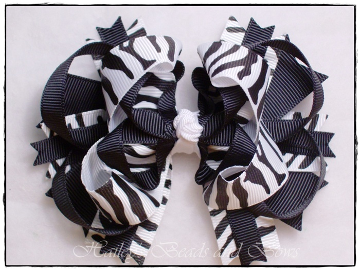 Zebra Print Layered Boutique Hair Bow-zebra print hair bows, hair bow, hairbows, buy hairbows online, children's boutique online, layered boutique hair bows, black white hair bows, large hair bows