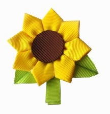 Sunflower Hair Clip-sunflower hair clips, flower hair clip for toddler baby, ribbon flower hair clip, ribbon sculptures, ribbon art clips, hair bows onlines, buy hair bows online boutique, unique hair bows and clips. sunflower hair bow, photo props, photography props