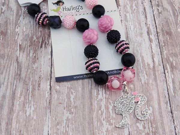Barbie-barbie bubble gum bead necklace, barbie chunky bead necklace, pink black necklace, rhinestone barbie necklace, baby necklace, barbie party, photography props
