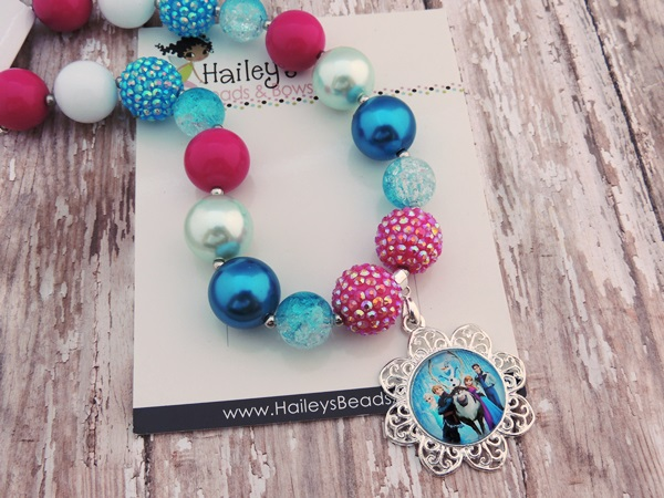 Frozen-frozen chunky bead necklaces, frozen bubble gum bead necklaces, bubblegum bead necklaces, character necklaces