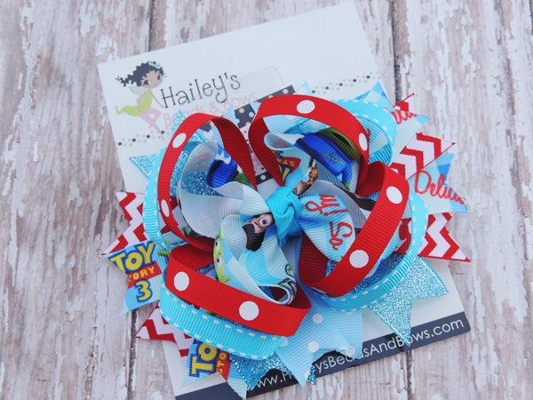Toy Story 3 Inspired Hair Bow-Toy Story hair bows, character hair bows, large hair bows, red white hair bow, red yellow hair bow