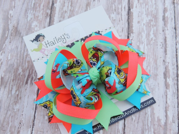 Sponge Bob Squarepants Inspired Hair Bow-Spongebob hair bow, character hair bow, toddler hair bow, large hair bow, spike hair bow, orange blue hair bow,hair clips
