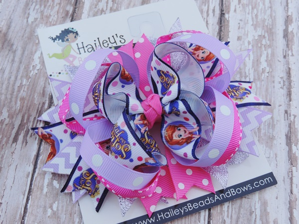 Sophia the First Inspired Bow-Princess hair bow, Sophia the First bow, Disney inspired bows, purple hair bow, large hair bows, boutique bows
