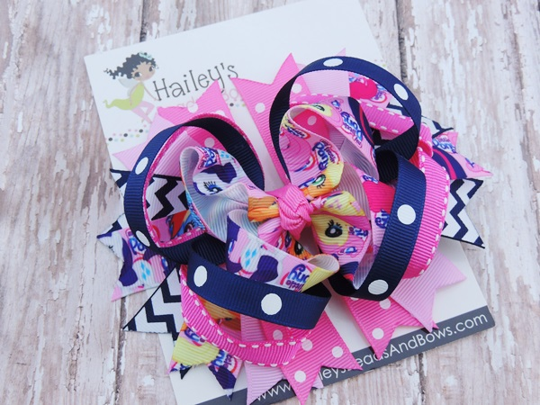 My Little Pony Inspired Hair Bow-My Little Pony Inspired hair bows, hair clips, character hair bows, pink blue white hair bow, baby hair bows, toddler hair bows