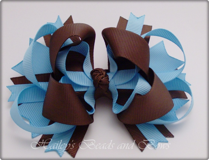 Chocolate and Blue Layered Boutique Hair Bow-large hair bows, spike hair bows, buy hairbows online, hair bow boutique online, handmade louisiana, layered boutique hair bow, blue brown hair bow