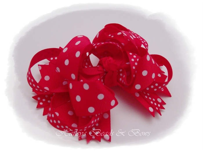 Red Polka Dots Layered Boutique Hair Bow-layered boutique hair bow, spike hair bows, buy hair bows online, online hair accessories for girls, korker hair bows, woven headbands, handmade louisiana