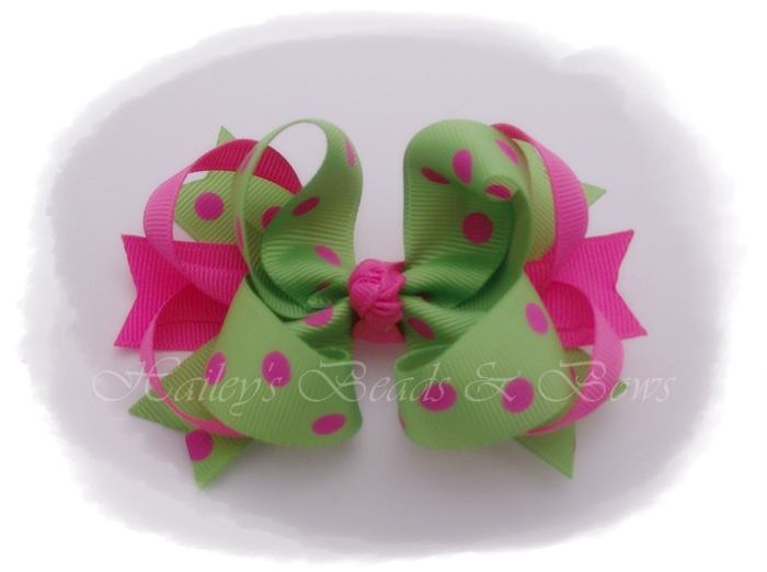 Spikes 'n loops Watermelon Dots-hot pink and green hair bow, polka dot hair bows, little girl bows, hair bows, boutique hair bows, hair bows online, buy hair bows