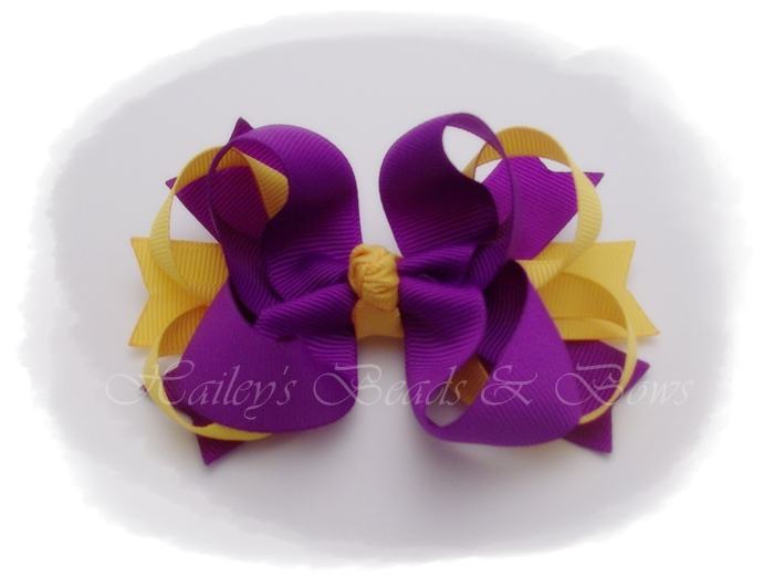 Spikes 'n loops GEAUX TIGERS-LSU toddler hair bow, purple and gold hair bow, loopy hair bow, toddler hair bow, school hair bows, team spirit hair bows, baby hair bows, crochet headband, hair bow headband