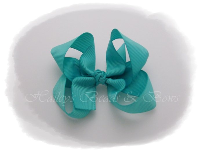 Basic Boutique Blue-small boutique hair bows, baby hair bows, alligator clip bows, blue hair bows, hair clips, ribbon art clips, ribbon sculptures, buy hair bows online