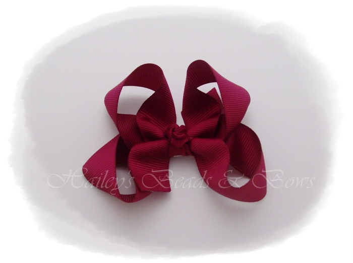 Basic Boutique Bow Burgundy-burgundy boutique hair bow, small hair clips, alligator clip hair bow, buy hair bows online, small hair bows, hair bow boutique, handmade louisiana