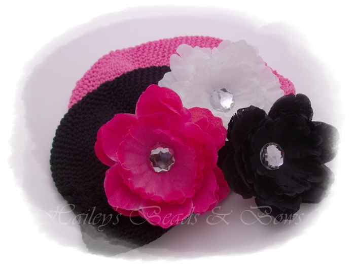 Infant Starter Set 1-infant crochet beanie hats, baby hat gift set, baby shower gifts, crochet hat with flower, crystal flower hair clips, peony hair clips, baby accessories