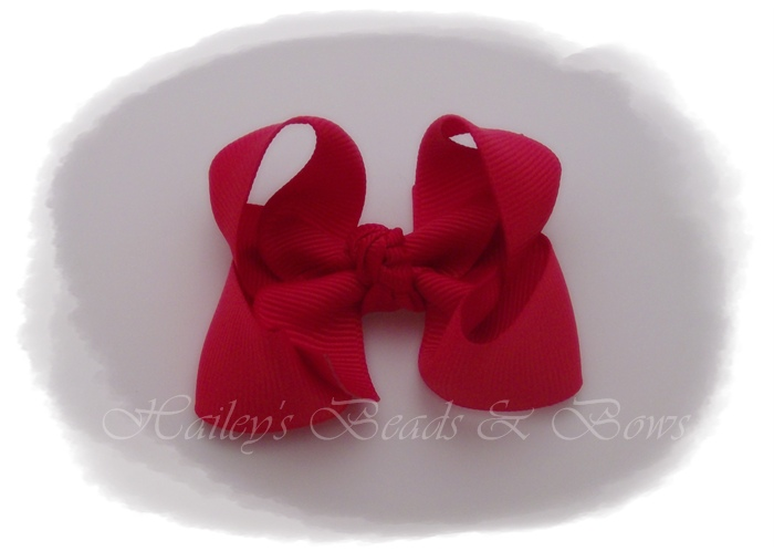 Baby Boutique Bows-Red-small baby hair bows, small boutique hair bows, toddler hair bows, no slip grip, buy hair bows online, baby snap clips