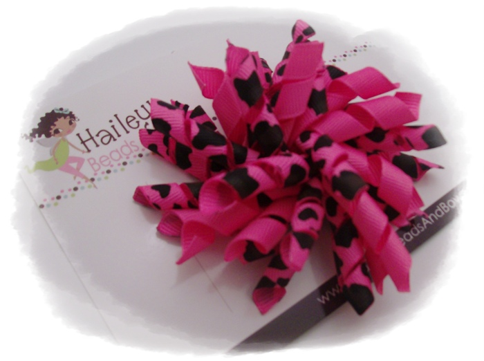 Hot Pink Korker Hair Bow-hot pink leopard print ribbon, korker hair bows, corker hair bows, curly ribbon hair bows, hairbows, buy online hair bows, handmade louisiana, beads and bows